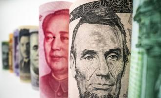 Macro shot of international currency money