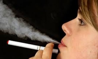 Smoker smoking an e-cigarette
