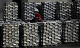 Aluminium ingots at the foundry shop of the Rusal Krasnoyarsk, Siberia