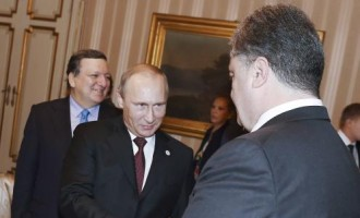 Russia's President Vladimir Putin (L) shakes hands with Ukraine's President Petro Poroshenko