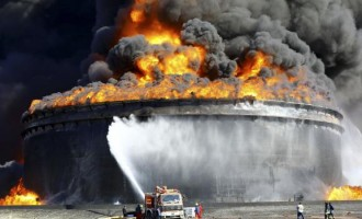 Storage oil tank on fire