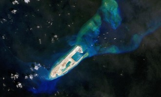 Latest satellite views of a South China Sea land reclamation project