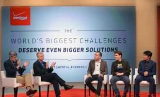 Verizon CEO Lowell McAdam Unveils Grand Prize Winners Of Verizon Powerful Answers Award At A Panel Moderated By TV Personality Mo Rocca At CES 2014 In Las Vegas