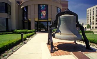 Michigan, Grand Rapids, Bell Outside Van Andel Museum