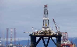 Unused Oil Rigs Docked In Cromarty Of Firth As Oil Slump Continues