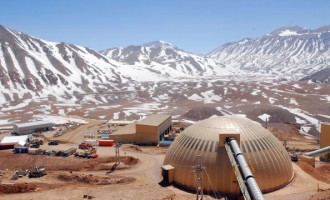 A pipe leads to a processing facility at Barrick Gold Corp.'