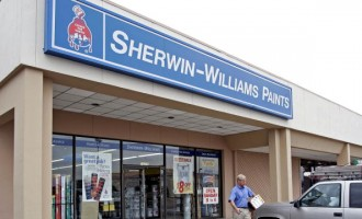 A patron leaves a Sherwin-Williams store in   Houston, Texas