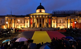 Vigil Held In Trafalgar Square For Brussels Terror Attack Victims