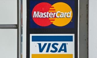 Visa and MasterCard credit card logos ar